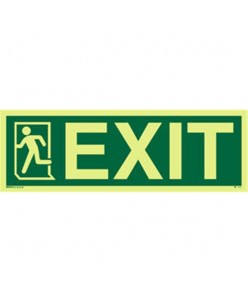 Photoluminscent Exit Sign + Running Man Symbol On Left