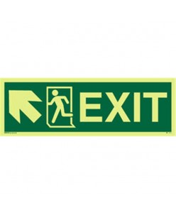 Photoluminscent  Exit Sign + Running Man Symbol + Arrow Diagonally Up Left