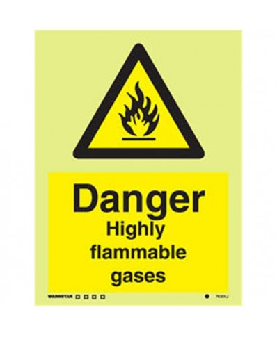Danger Highly flammable gases signs- Photoluminscent
