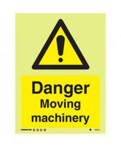 Danger moving machinery sign-Photoluminscent