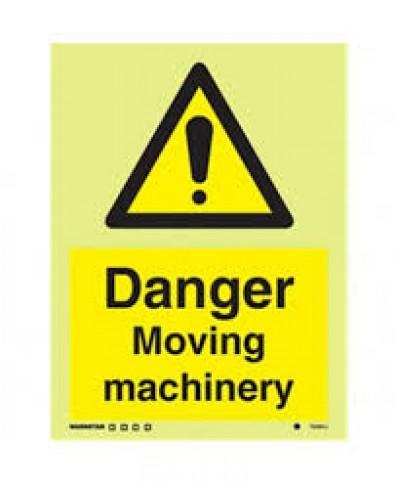Danger moving machinery sign-Photoluminscent