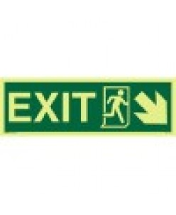 Exit sign-Running Man Symbol-Arrow Diagonally Down Right-Photoluminscent