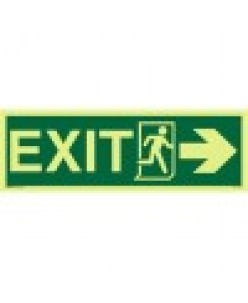 Exit sign + Running Man symbol + Arrow Right-Photoluminscent