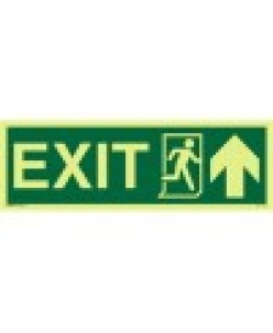 Exit Sign-Running Man Symbol-Arrow Up On Right-Photoluminscent