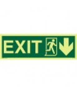 Exit-sign-Running-Man-Symbol-Arrow-Down-On-Right-Photoluminscent
