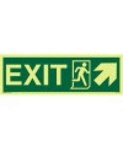 Exit Sign+Running Man Symbol + Arrow Diagonally Up Right-Photoluminscent