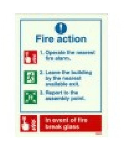 Fire Action Sign-Photoluminscent